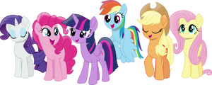 Movie Style Mane Six by FrownFactory