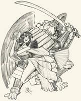Kitsune and Tengu by Coyotzin