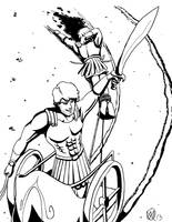 Greek Myths-Troy-Achilles Victorious by Coyotzin
