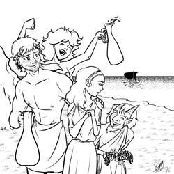 Greek Myths - Theseus - Ariadne and Dionysus by Coyotzin