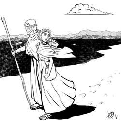 Greek Myths - Oedipus - Oedipus and Antigona by Coyotzin