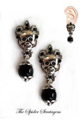 Gothic stud earrings 'Victorian skulls' goth by TheSpiderStratagem