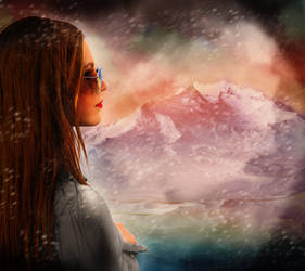 Girl overlooking a Snowy Mountain by LTrevill