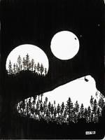 Dragon stalking a centaur on a forest moon by Callego
