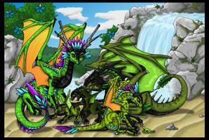 Green DnD Dragons + Waterfall by Chikara-Redwing