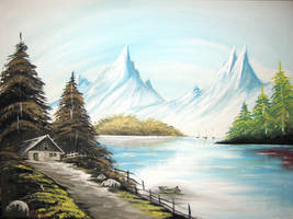 Landscape on lake by artsoni
