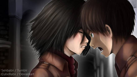 Mikasa and Eren Screencap by CutieBabii
