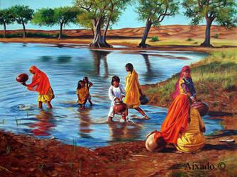 chicas recogiendo agua by aixado