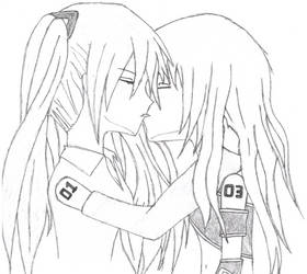 Hatsune Miku and Megurine Luka kissing by NewbMangaDrawer