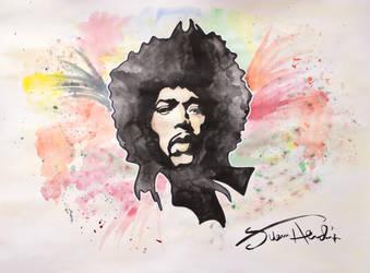 Jimi Hendrix on watercolors by Hath0r