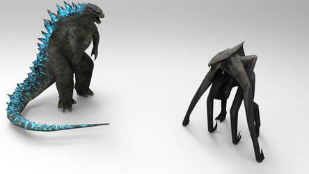 Godzilla vs MUTO render by papkapapka