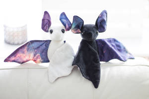 White and Black Galaxy Bats by BeeZee-Art