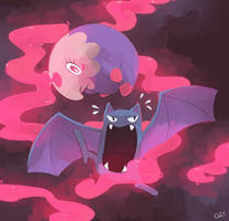 [Day 14 and 15] Musharna and Golbat by PinkGermy