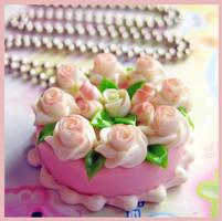 Wedding Rose Cake Necklace by cherryboop