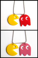 Pacman Acrylic Necklaces by cherryboop