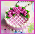 Lavender Rose Cake Necklace by cherryboop