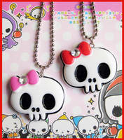 Skull Bow Necklaces 2 by cherryboop