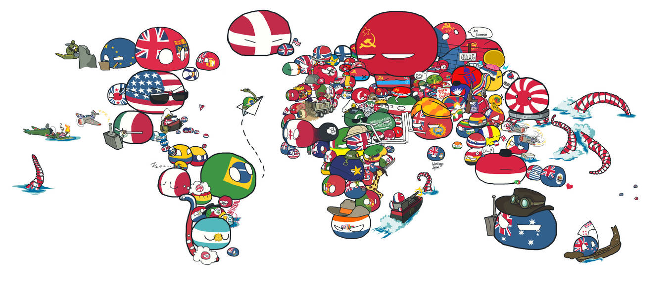 Polandball Map Of The World 2017.A Polandball Map Of The World Wwii By Yalen The Untaggable On