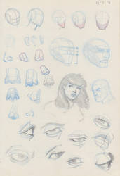 Facial feature sketches by Marc-F-Huizinga