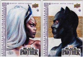 UPPER DECK AP SKETCH CARDS BLACK PANTHER and STORM by FredIanParis