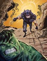Wolverine vs Hulk by ARTofANT