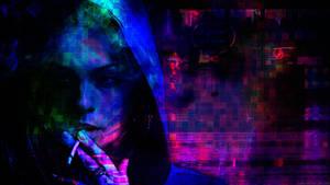 Cyberpunk Glitch: Smoking Girl by ioanz