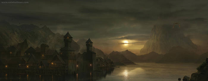 Lake Town - The Hobbit by NateHallinanArt