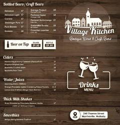 Restaurant Menu Design - Village Kitchen - Front by nanideviantart