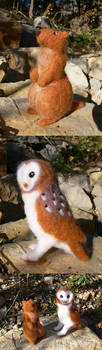 Marmot and Barn owl in felted wool by Maiwenn