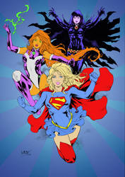 Supergirl-Starfire-Raven by Leomatas by lstowe