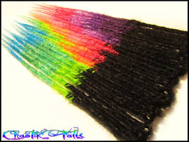 Rainbow Transitional Synthetic Dreads by ChaotikFalls