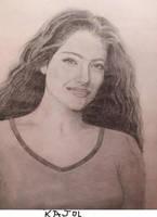 Kajol's pencil drawing by Pritha-Bhatt