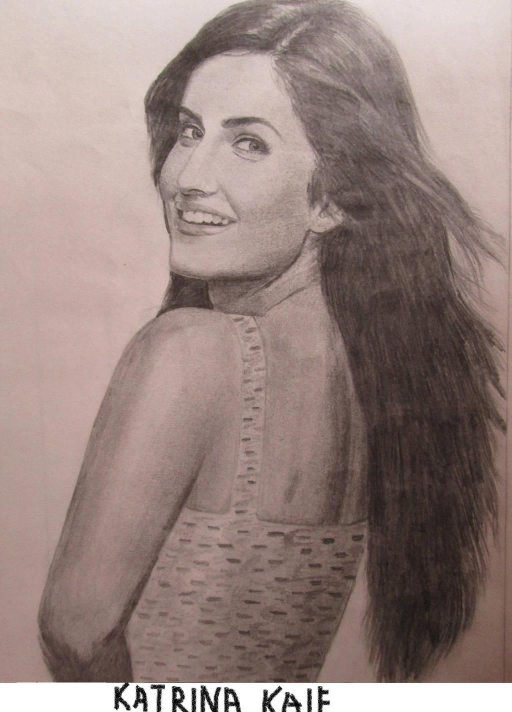 Katrina Kaif's pencil drawing by Pritha-Bhatt