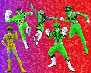 Light Green and Dark yellow Rangers by LavenderRanger