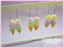 Pastel ice-cream earrings by Irudisu