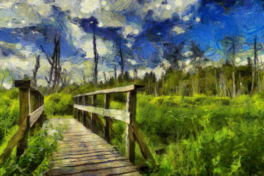 Country Bridge by oldhippieart