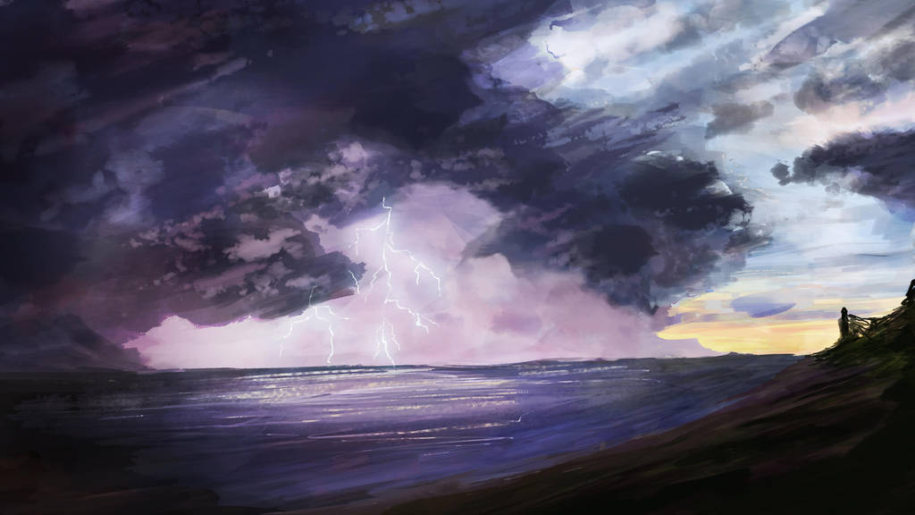 Lightning at the seashore by Atik1n