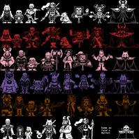 [Undertale AU] Custom Main Characters Sprites by Mario8433