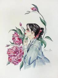 Peonies [Hanbok girls] by Reraartist