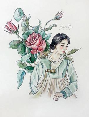 Roses [Hanbok girls] by Reraartist