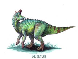DrawDinovember Day 13 Lambeosaurus by EmilyStepp