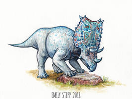 DrawDinovember Day 14 Chasmosaurus by EmilyStepp