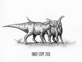 DrawDinovember Day 23 Parasaurolophus by EmilyStepp