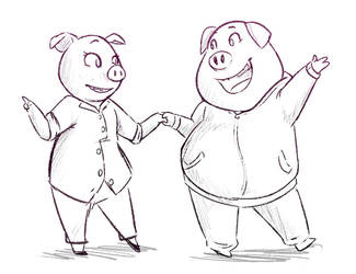 pig performers by Jojodear