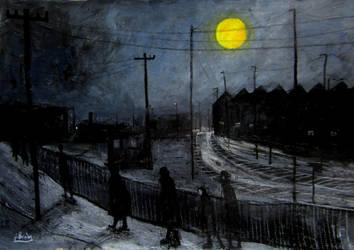 full moon and railway tracks by glenox66