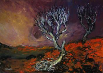 'broken Tree On The Hill' 90cmx70cm by glenox66