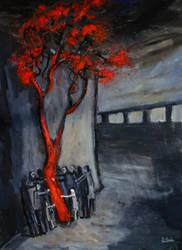 'around The Red Tree'  70cmx90cm by glenox66