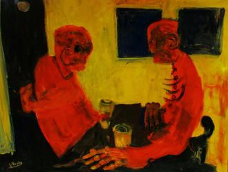 'old Men At The Pub' 90cmx70cm by glenox66