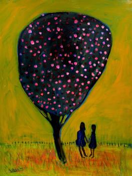 'girls And Tree' 70cmx90cm by glenox66