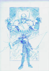 Thor / Loki Pin-up pencils by RobPaolucci